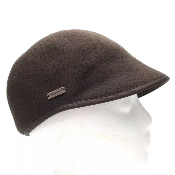 Kangol Flat Cap Hat felt wool brown S